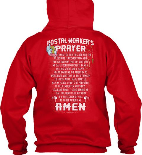 Postal Worker's Prayer Amen Red T-Shirt Back