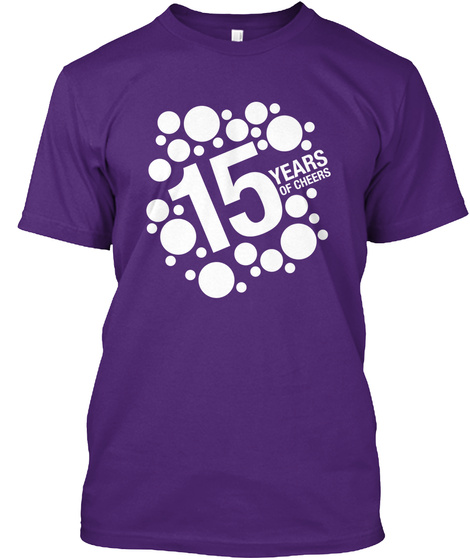 15 Years Of Cheer Purple T-Shirt Front