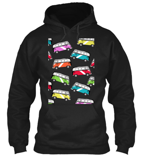 Colorful Bus Hoodie Black T-Shirt Front