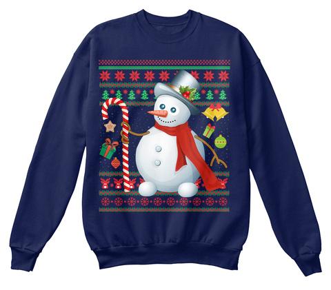 Snowman Ugly Christmas Sweater Xmas Gift Navy  Sweatshirt Front