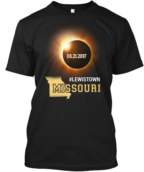 Eclipse Lewistown Mo. Customizable City Black T-Shirt Front