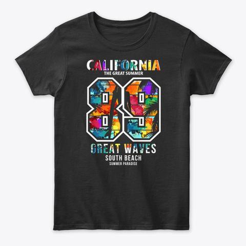California Summer Paradise  Tee Black T-Shirt Front