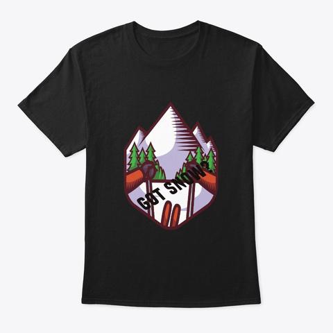 Skiing Black T-Shirt Front
