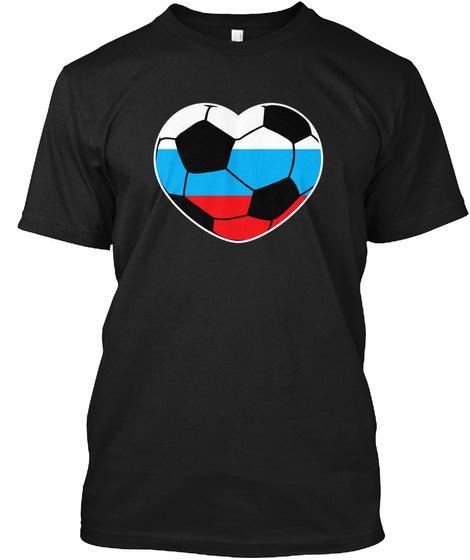 Russia Soccer Ball Heart Jersey Russian  Black T-Shirt Front