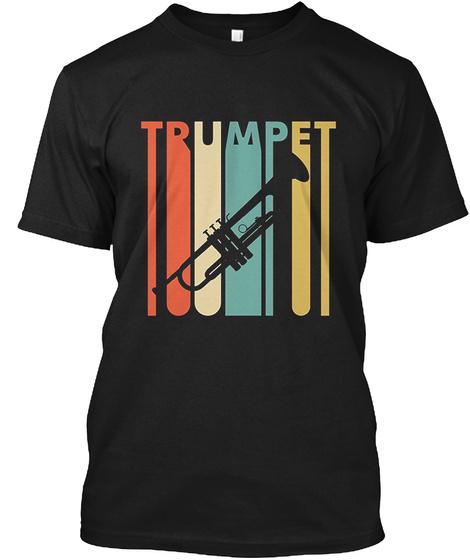 Vintage Style Trumpet T Shirt Black T-Shirt Front