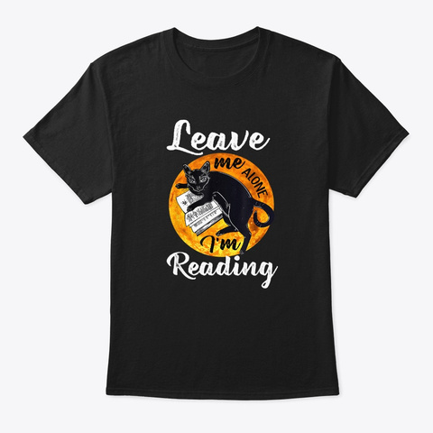 Funny Black Cat Reading Book Halloween Black T-Shirt Front