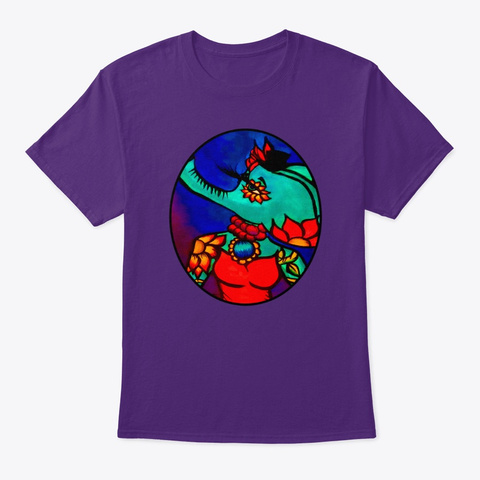 Elephant Tattoo Art Diva Purple T-Shirt Front