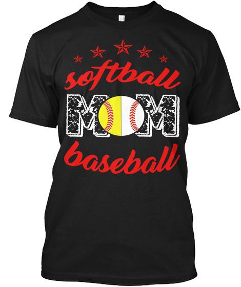 Softball Mom Baseball Black T-Shirt Front
