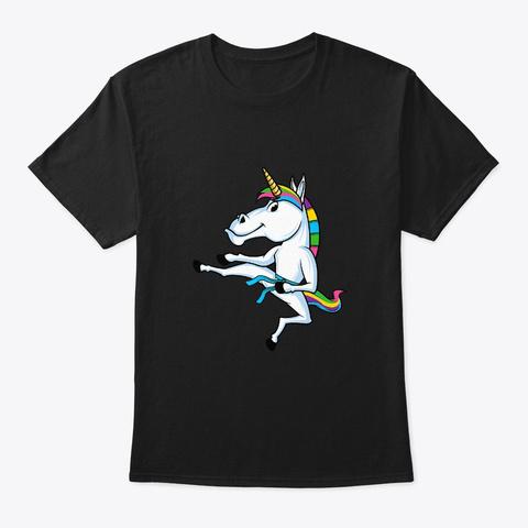 Unicorn Martial Arts Combat Sports Black T-Shirt Front