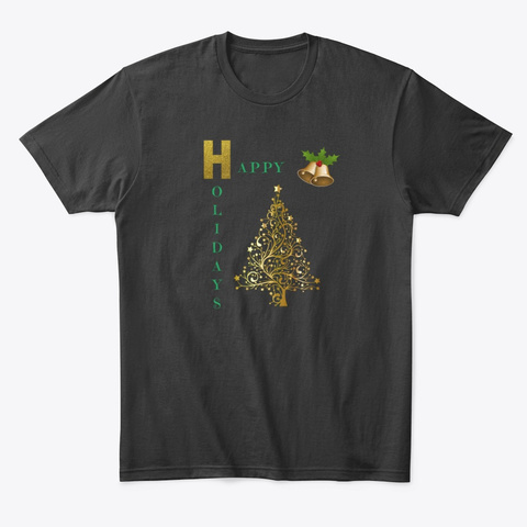Golden Christmas Tree Black T-Shirt Front