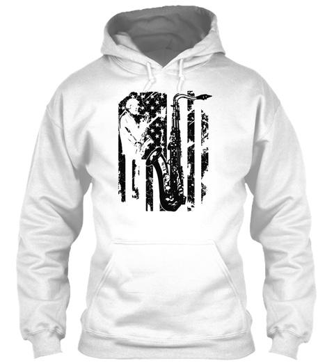 Saxophone Flag T Shirts White T-Shirt Front