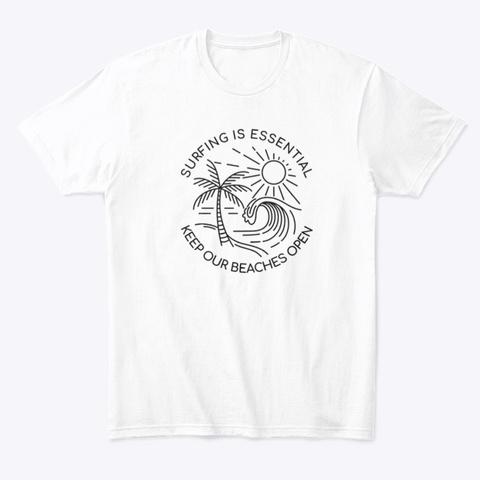 Essential Surfing Sketch White T-Shirt Front