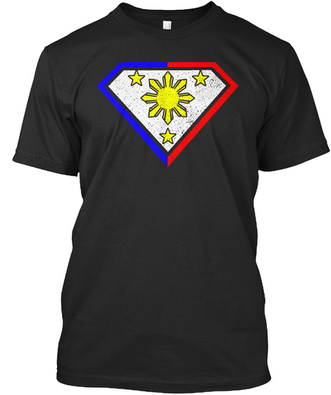Super Filipino 3 Stars And Sun Black T-Shirt Front
