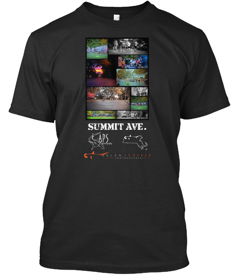 Summit Ave. Black T-Shirt Front