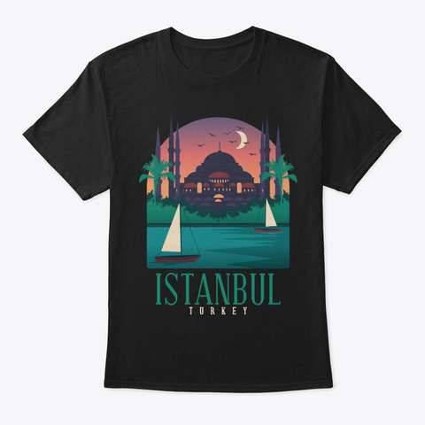 Turkey Skyline Istanbul Souvenir Gifts Black T-Shirt Front