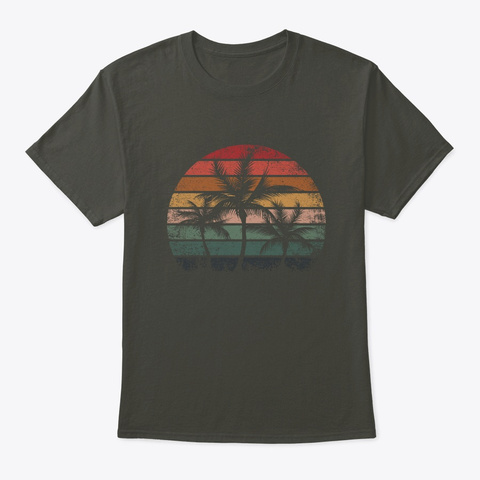 Palm Tree Retro Style Tropical Beach  Smoke Gray T-Shirt Front