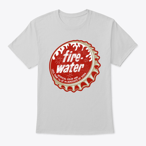 Vintage Fire Water Cola Soda Bottle Cap Light Steel T-Shirt Front