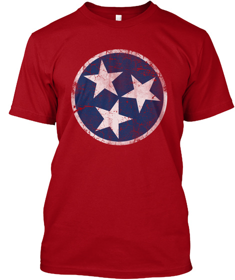 Vintage Flag Of Tennessee  Deep Red T-Shirt Front