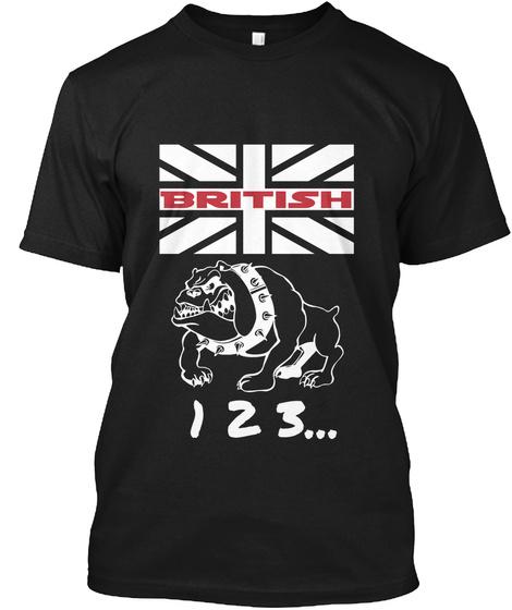 British 1 2 3... Black T-Shirt Front