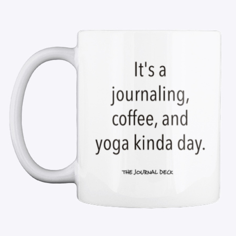 Journal Coffee Yoga Mug White Mug Front