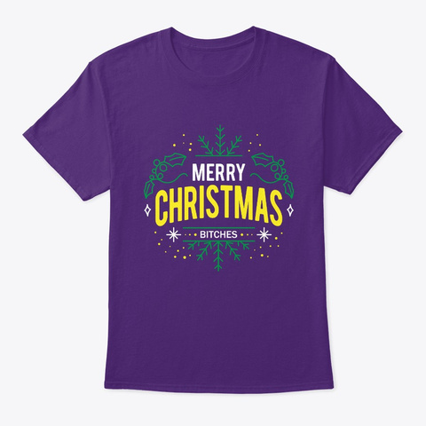 Merry Chistmas Women Girls Gift Idea Purple T-Shirt Front