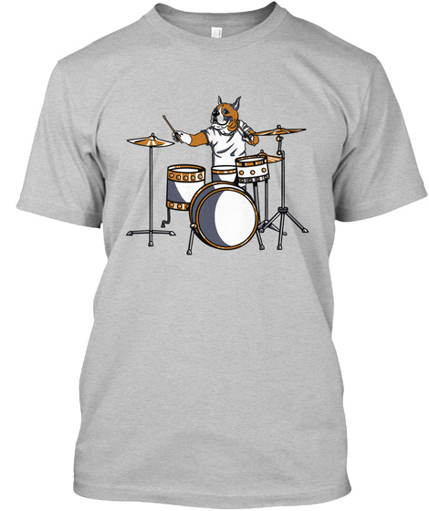 Boxer On The Drumset Light Heather Grey  T-Shirt Front