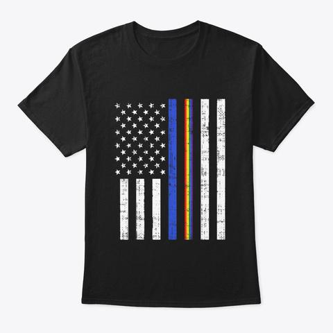 Lgbt Thin Blue Line Rainbow American Black T-Shirt Front