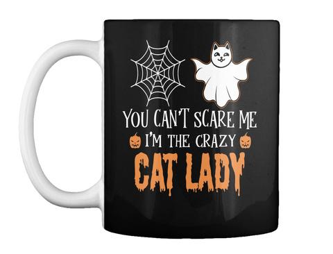 Cat Lady Halloween Mug Black T-Shirt Front