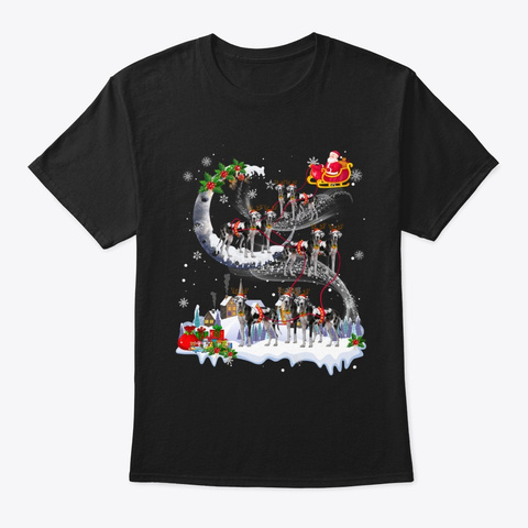Great Dane Dog Reindeer Christmas Black T-Shirt Front