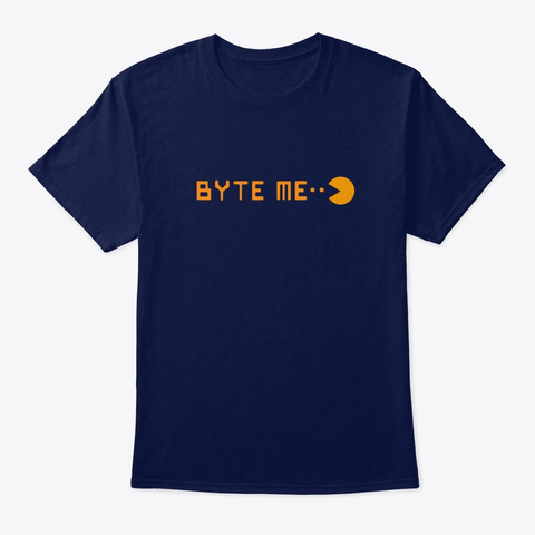 Byte Me (Not Bite Me) Navy T-Shirt Front