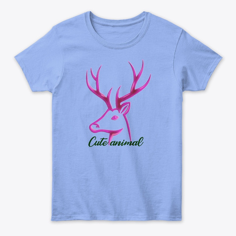 Cute Animal Light Blue Women's T-Shirt Front