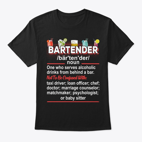Bartender Gift, Funny Definition Black T-Shirt Front