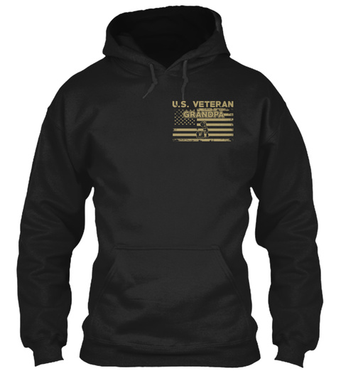U.S. Veterangrandpa Black T-Shirt Front