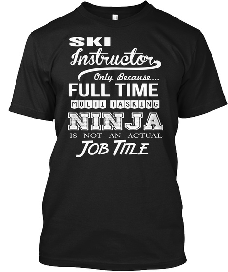 Ski Instructor Black T-Shirt Front