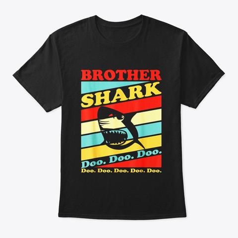 Retro Vintage Brother Shark T Shirt Black T-Shirt Front