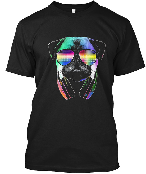 Cool Music Lover Pug T Shirt Black T-Shirt Front