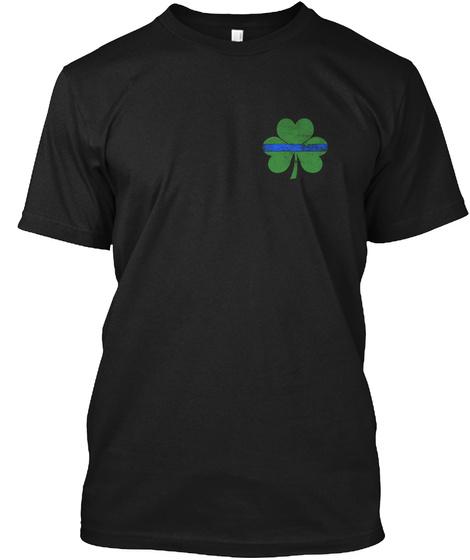 Irish Thin Blue Line Flag Black T-Shirt Front