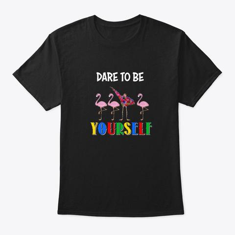 Autism Awareness Flamingo Gift Black T-Shirt Front