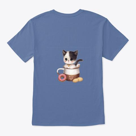 Kitten Cup Denim Blue T-Shirt Back