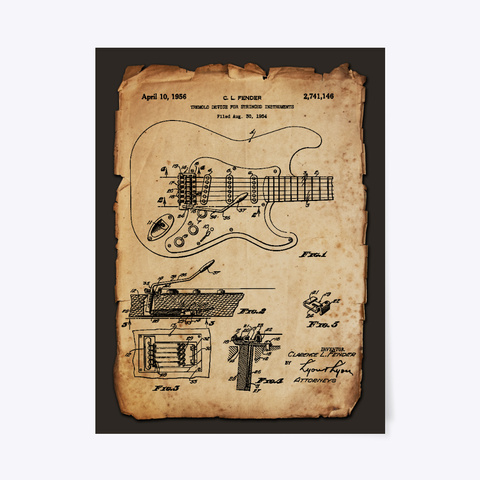 Guitar Tremolo Device Patent Poster Black T-Shirt Front