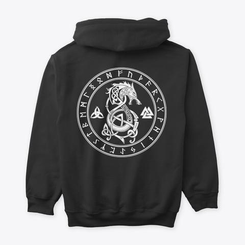 Norse Runes Fenrir Valknut Symbol Viking Black T-Shirt Back