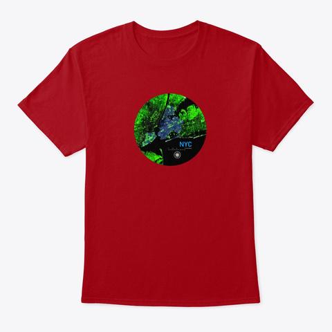 New York City Shirt Pillow Map Deep Red T-Shirt Front