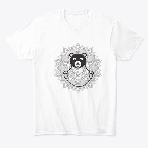 Yoga Bear White T-Shirt Front