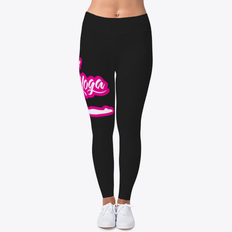 Yoga Pants, Clothes, Black Pink White Black T-Shirt Front