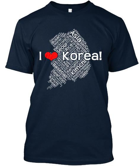 I Love Korea! New Navy T-Shirt Front