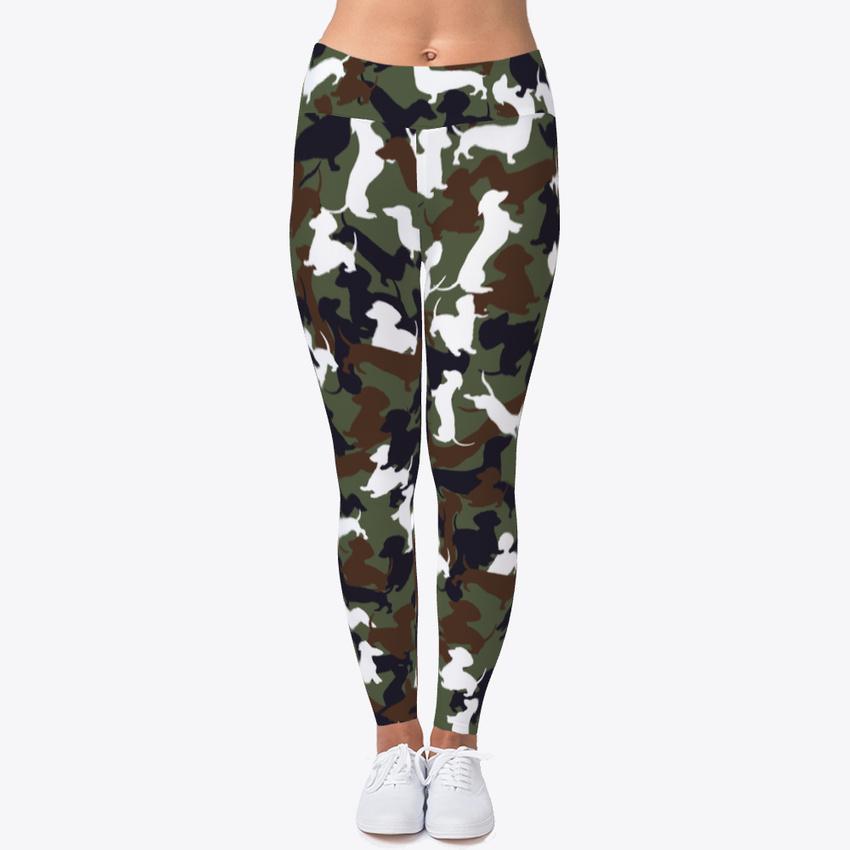Fitness Leggings Camo: Dachshund Camo Mb Women's Print Fitness Stretch *Leggings