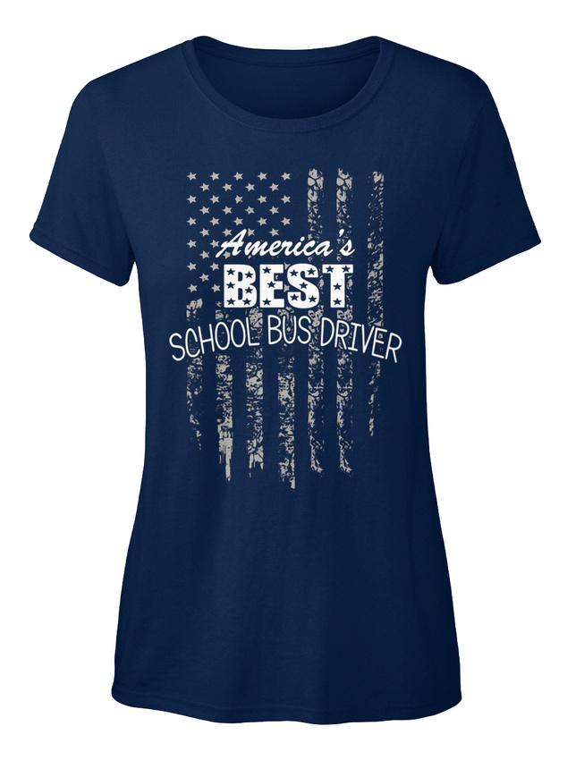 Techer-Novelty-Best-School-Bus-Driver-America-039-s-T-shirt-Elegant-pour-Femme