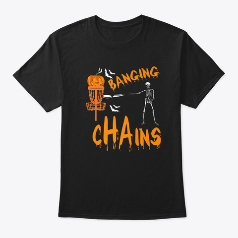 Halloween Funny Disc Golf Skeleton  Black T-Shirt Front