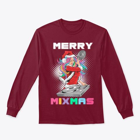 Merry Mixmas Santa Girl Dj Xmas Holidays Cardinal Red T-Shirt Front