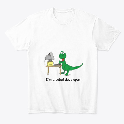 Cobol Developer T Shirt With Dinosaur White T-Shirt Front